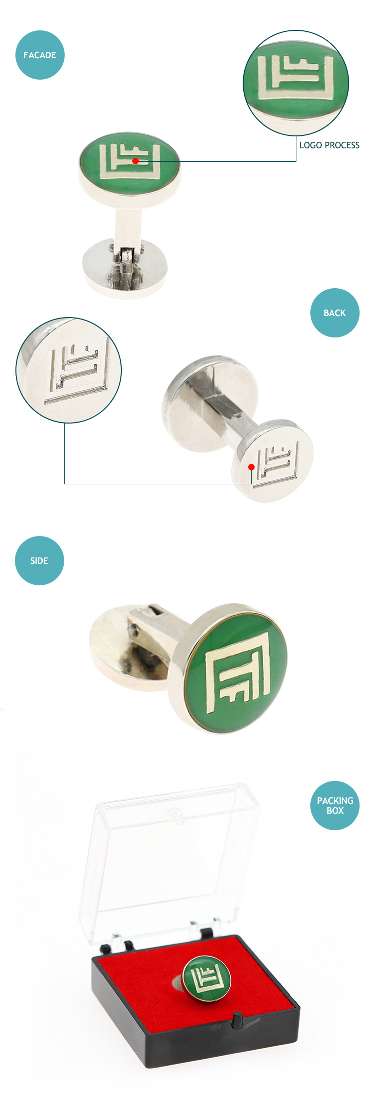 2019 OEM colorful zinc alloy custom round cufflinks for mens shirts