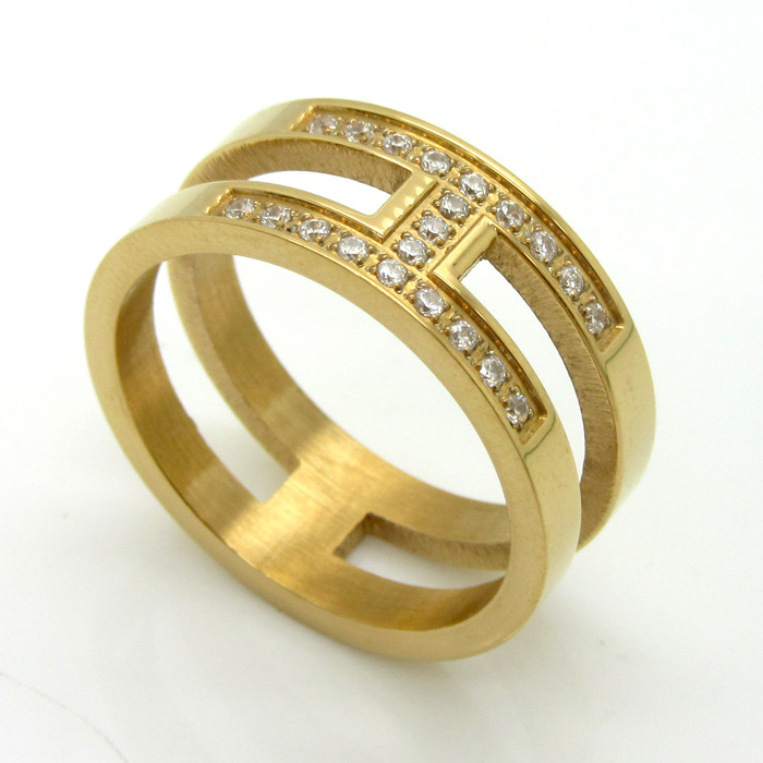 China Supplier New 18k Gold Plated Zircon Party Bridal Sets Ring Design H Letter Shape For Women