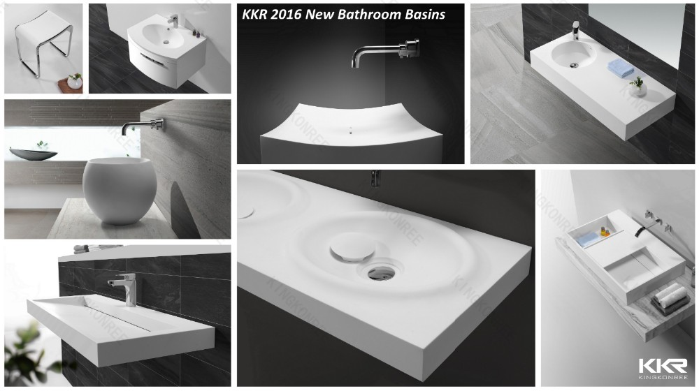 Wall Mounted Acrylic Solid Surface Wash Basin / Stone Resin ...