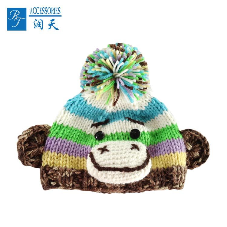 Wholesale Knitted Pom Pom Hat Fleece Cc Monkey Beanie - Buy ... 81e4d5474ba