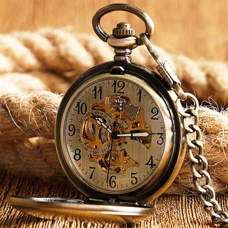 Automatic Mechanical Trendy skeleton Pocket Watch