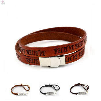 Personalized Logo Printed Engravable Leather Bracelet Custom Make Laser Id
