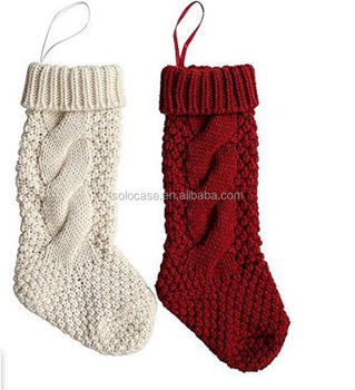 unique burgundy and ivory white knit christmas stockings - White Knit Christmas Stockings