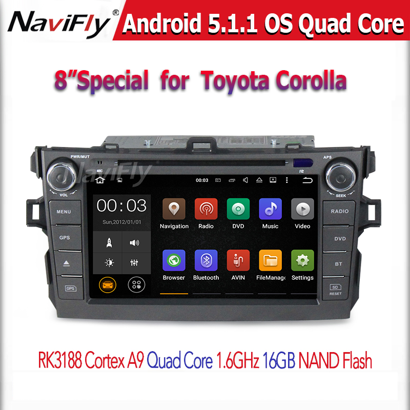 8inch big screen car dvd gps player with android 5.1 system sepcial design for <strong>toyota</strong> <strong>corolla</strong> 07-11 year
