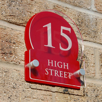 Wall Mounted Lovely Clear And Red Acrylic House Number Sign with address