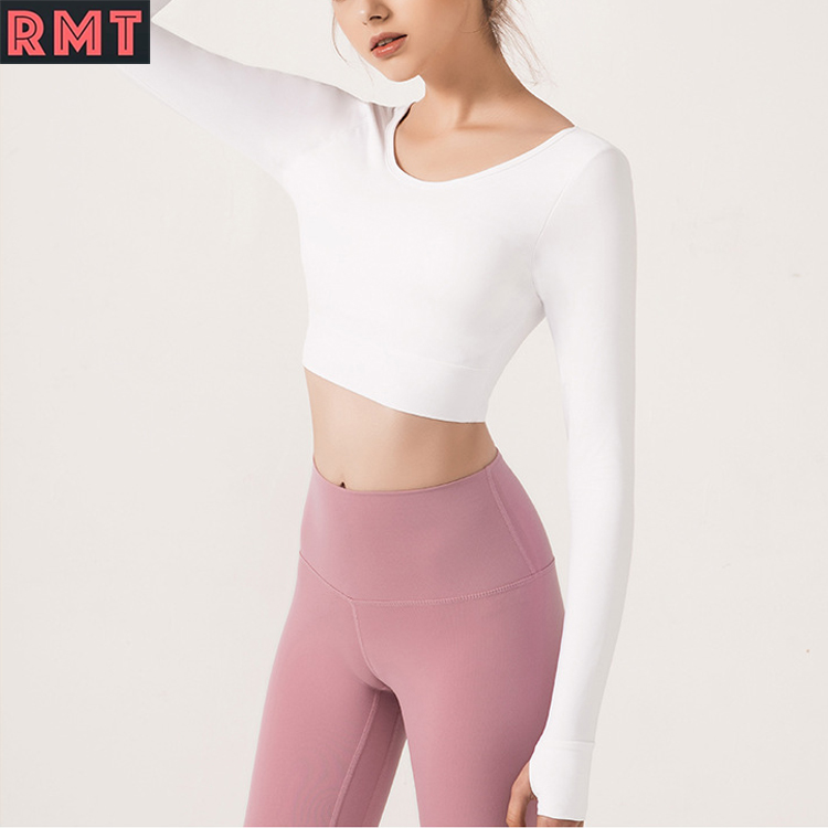 OEM High Quality Gym Wear Crop Tops for Women ropa de mujer Fitness Yoga Shirt Long Sleeve T-Shirt Woman