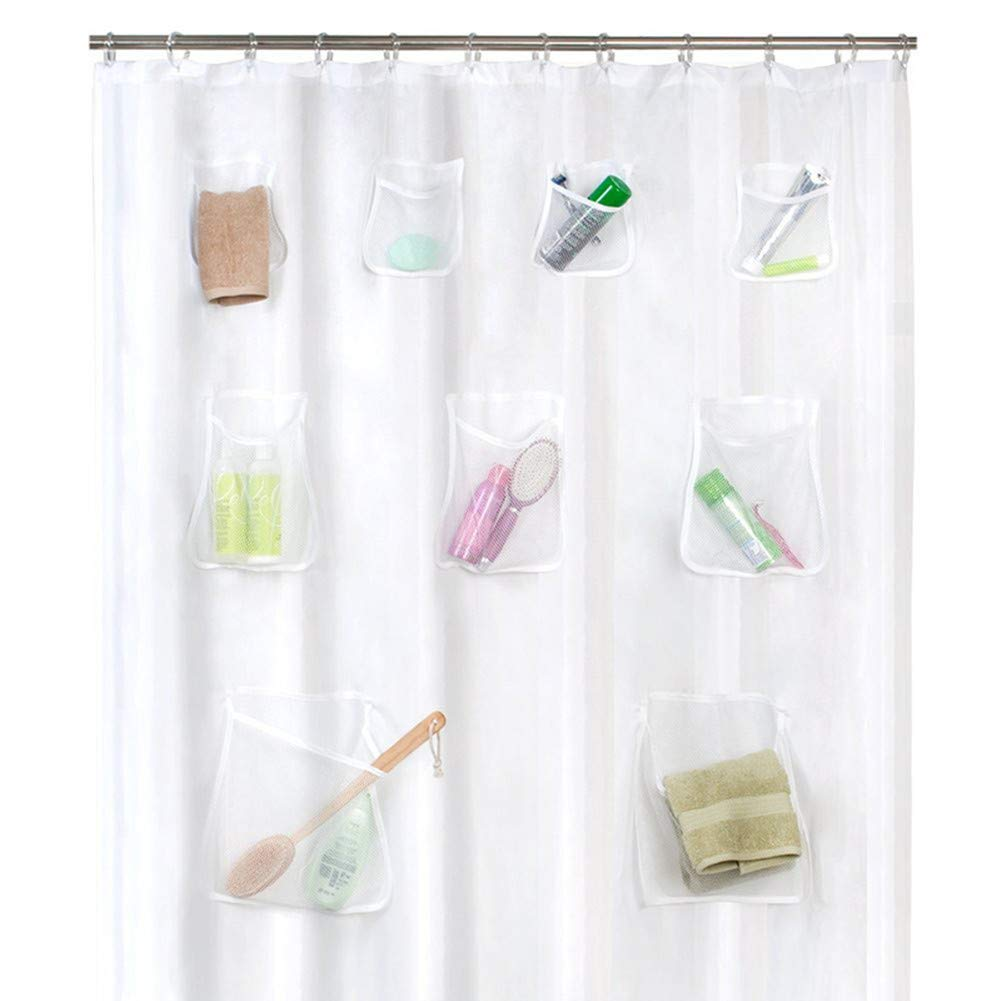 FUNIFUTURE Mildew Resistant Anti-Bacterial PEVA Shower Curtain with 9 Polyester Mesh Pockets, or Liner, Bath/Shower Organizer-Non Toxic, Eco-Friendly,Clear 70 x 72 inches (Clear)
