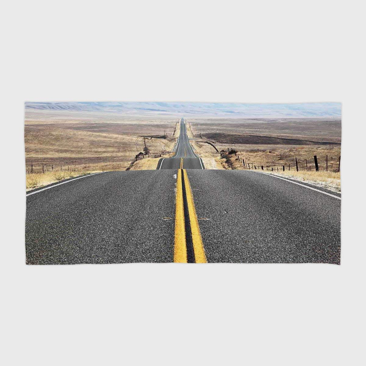 One Side Printing Hotel SPA Beach Pool Bath Hand Towel,Americana Landscape Decor Pacific Coast Highway on the Road Trip to Endless Desert Western Photo Grey,for Kids Teens and Adults