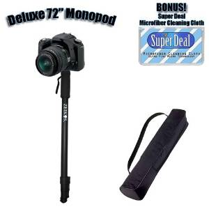Professional 72 Inch Heavy Duty Monopod With Deluxe Soft Case For The Canon Eos 300D, D30, D60 + Exclusive FREE Complimentary Super Deal Micro Fiber Lens Cleaning Cloth