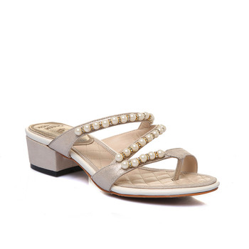 china wholesale shoes designer sandal with pearl leather sandal ladies  luxury women shoes flip flop sandal 2f90c0e301