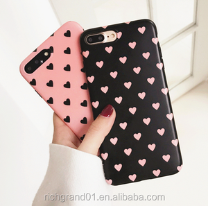 Black Pink Peach Heart Star Korean Candy Silicone Soft case for iphone 7 7 plus 6 6s 6s plus