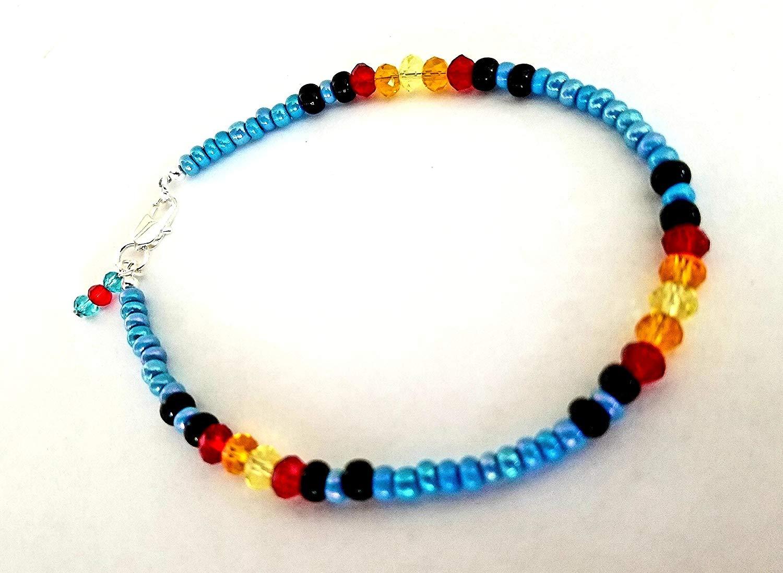 El Allure Multi Strands beaded Seed Bead Orange Blue handmade women long fine Necklace With Glass Bead.