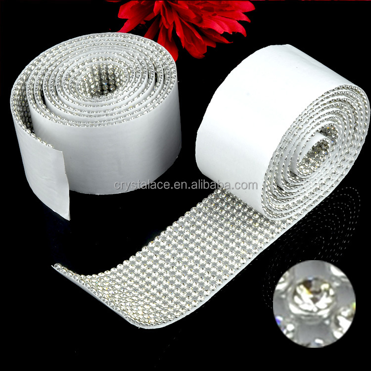 Self Sticker Rinestone Mesh, Self-Adhesive Sticky Stone Banding, Sticky Crystal Strass Mesh Trimming