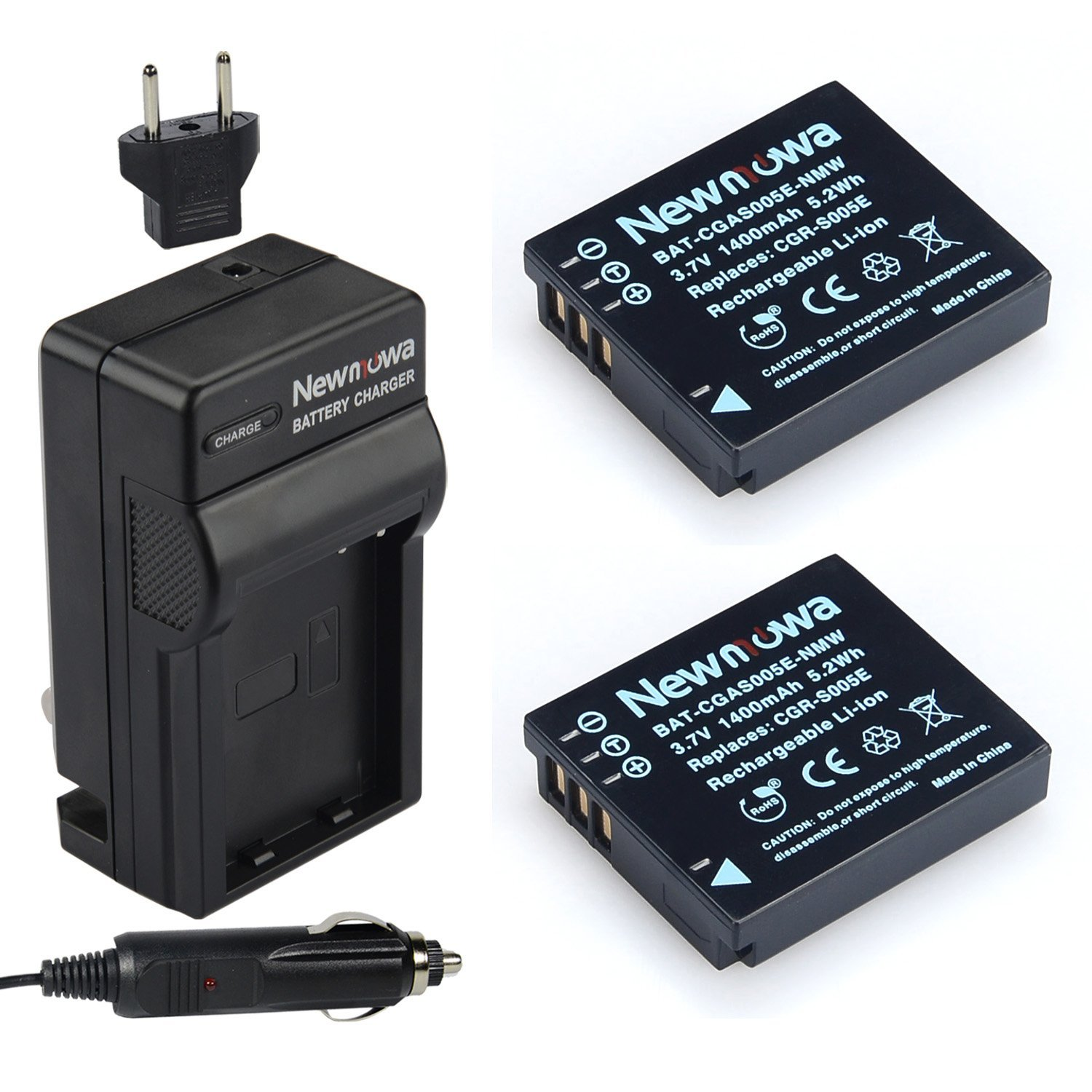 Newmowa S005 Battery (2-Pack) and Charger kit for Panasonic CGA-S005 / CGA-S005E Replacement Battery Compatible with Panasonic Lumix DMC-LX1 / DMC-LX2 / DMC-LX3 and Ricoh WG-M1 Digital Camera