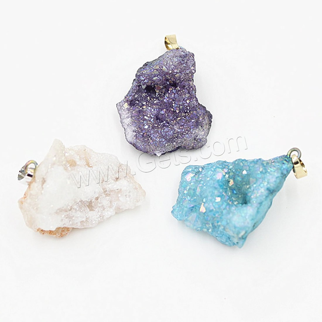Ice quartz natural crystal agate onyx pendants brass druzy drusy druse geode druza druzi style mixed colors 1254080