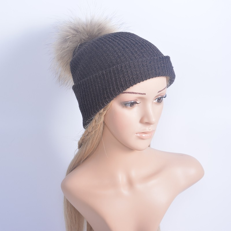 860e04c82 Autumn Winter Knitted Wool Hats For Women Fashion Pompon Beanies Fur Hat  Female Warm Caps With Natural Genuine Raccoon Fur Cap-in Skullies & Beanies  ...