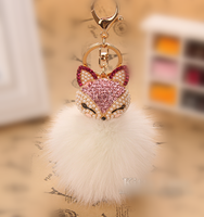 2016 FFX-001 FASHION COLORS FOX FUR KEYCHAIN POMPOM BALL
