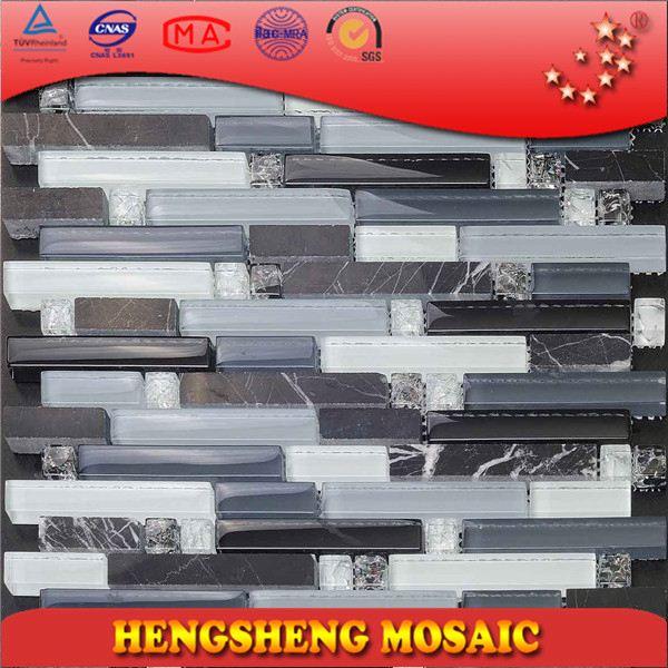 Chinese zwarte witte natuursteen mix strook lineaire kristalglas ...