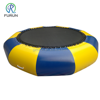 Cheap jumping game round floating inflatable water trampoline for sale