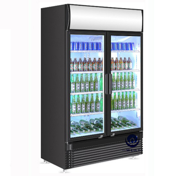 750L CE ROHS Restaurant Equipment Kitchen 2 Glass Door Fridge with Wheels Refrigerator Freezer
