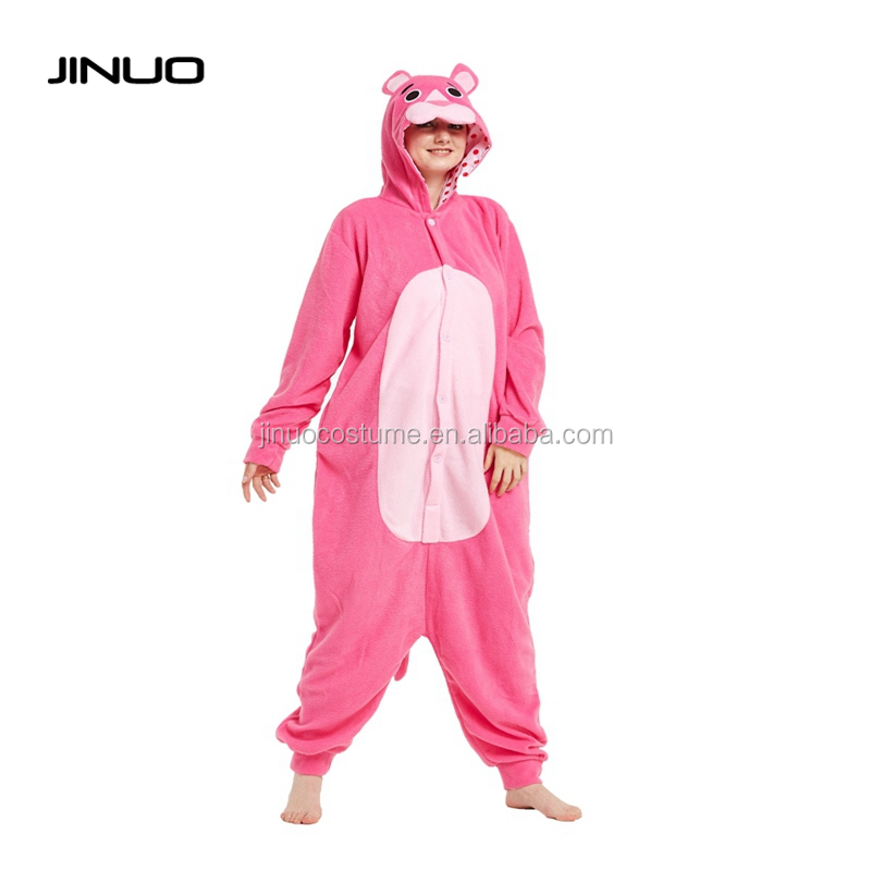 JINUO Pink bear Polar Fleece sexy custom adult cosplay costume onesie