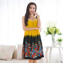 Женская ночная рубашка на тонких лямках размера плюс, элегантные летние хлопковые пижамы(Китай)