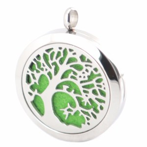 Tree Of Life Aromatherapy Essential Oils Stainless Steel Pendant Perfume Diffuser Locket Woman Jewelry