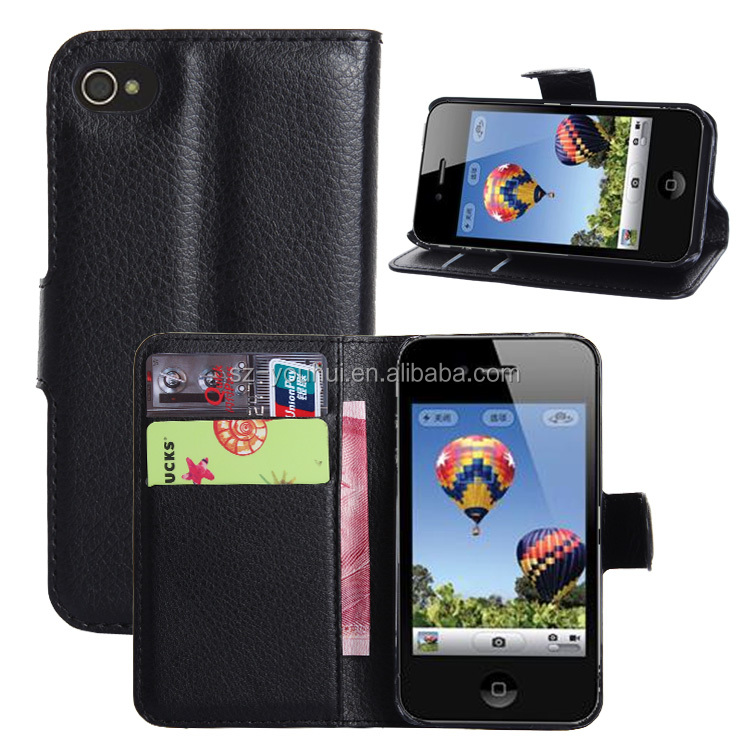Factory Price Flip Leather Hard Skin Pouch Wallet Case Cover For iPhone 4 4s
