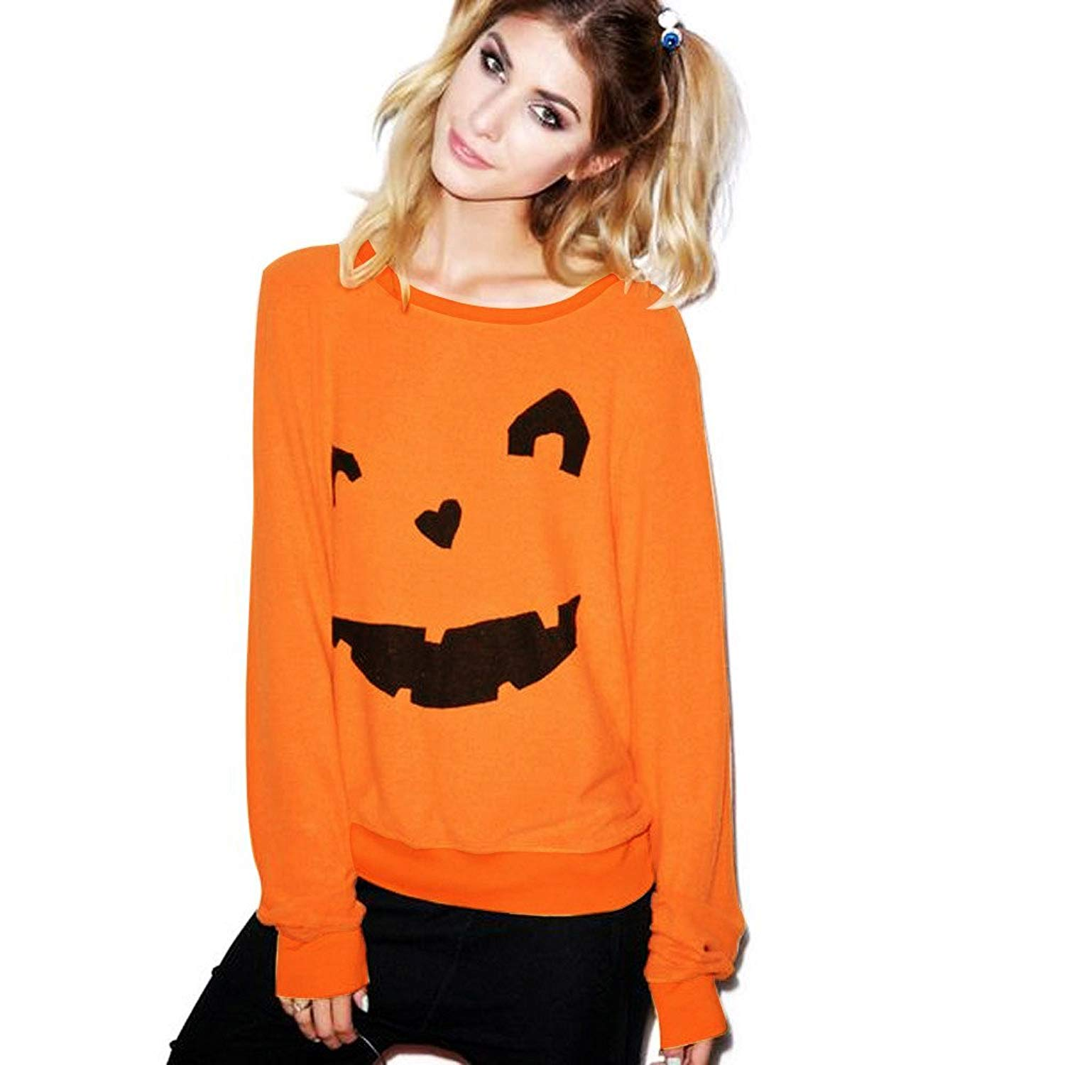 POTO Halloween Sweatshirt,Women Halloween Pumpkin Costume Long Sleeve Pullover Shirt Jumper Tops Blouse T-Shirts