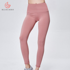 TOP quality Quick dry Breathable leggings high-waist stretch fitness fashion tights solid color sport pants for womens