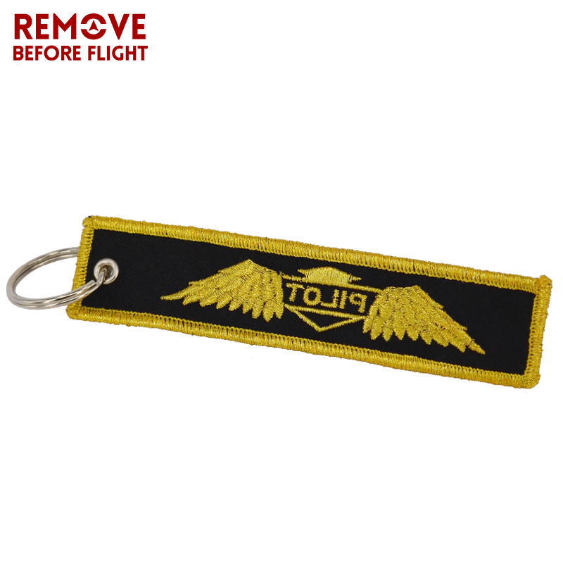 Blue with Yellowe Pilot Key Chain OEM Key Label Chains Jewelry Embroidery Safety Tag Aviation Gifts Special Pilot Luggage Tag