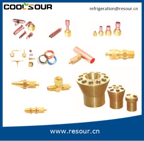 Coolsour Refrigeration brass fittings Double joint core nut air conditioning system components