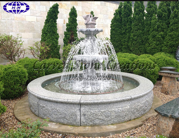 granite stone water garden fountain