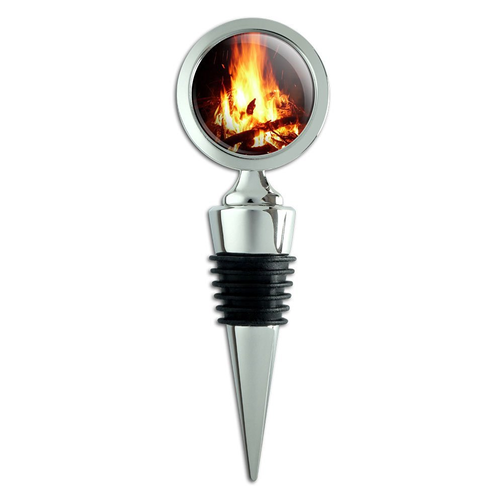 Campfire Camp Camping Fire Pit Logs Flames Wine Bottle Stopper