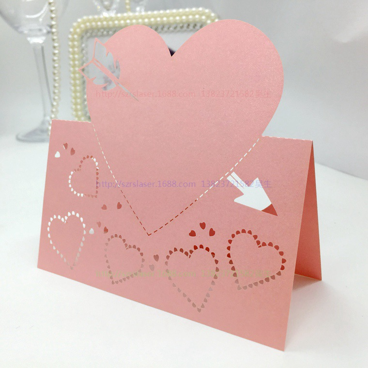 laser cut Personalised Love Heart Place Cards