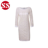 Latest innovative products lace embroidery nice mesh long one piece dress