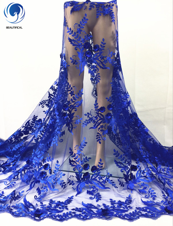 Beautificial Elegant embroidery 3d royal blue net lace fabric wedding lace fabric 5yards DPN484