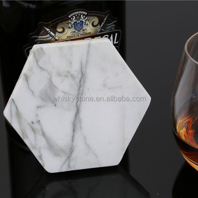 Hexagon shape White Carrara Marble Stone Coasters with Cork Backing