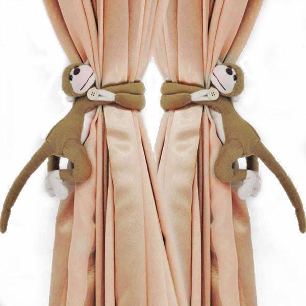 2 unids algodon de larga cola del mono cortina de ventana - Accesorios para cortinas ...