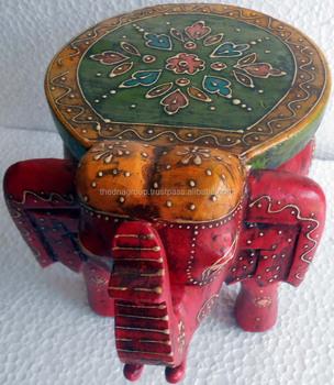 Antique Indian Elephant Small Handmade Decorative Cum Small Table