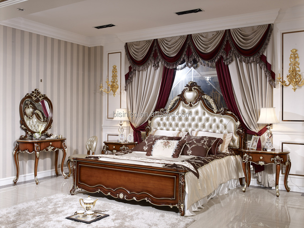 UAE Style Luxury Antique Bed, Luxury Bedroom Furniture Set, Solid Wood Bedroom  Furniture