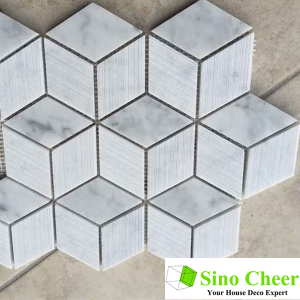 Polished cube 3d Italian carrara hexagon white marble mosaics and tiles for kitchen