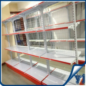 Mesh wire back supermarket gondola shelf, double sided gondola shelving of minimarket shelf