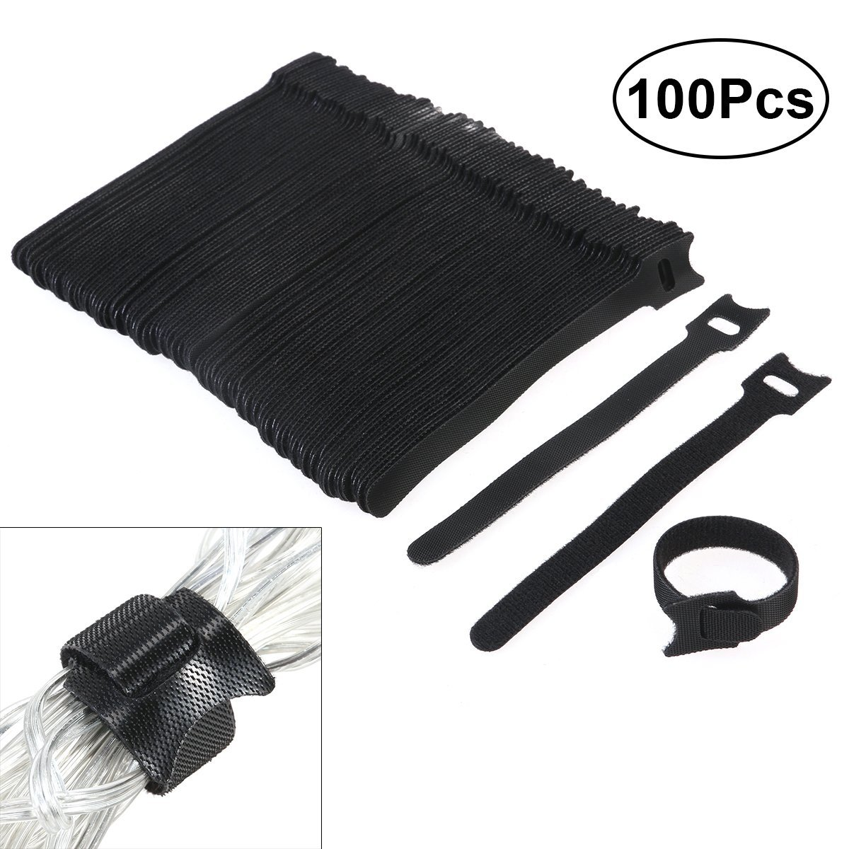 OUNONA 100pcs Multi-Purpose Cable Ties 6 Inch Fastening Cable Ties with Reusable Hook and Loop Strap Cable Ties for Organizer Fastening (Black)
