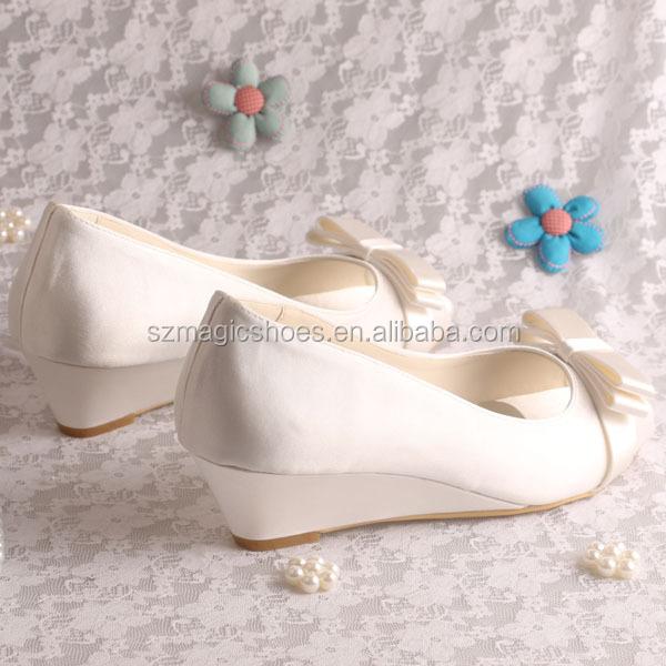 (15 Colors) Peep Toe Low Wedge Heel Wedding Shoes Bridal Bow