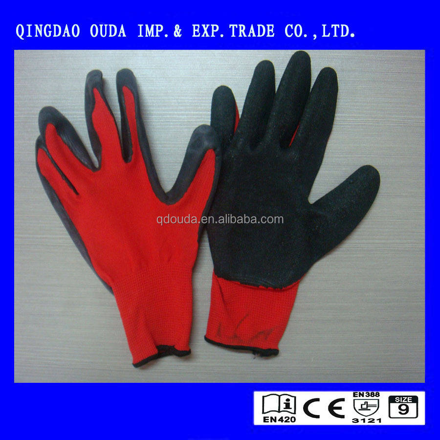 NMSAFETY 13 guage red liner coated black latex work gloves bluk safety gloves crinkle