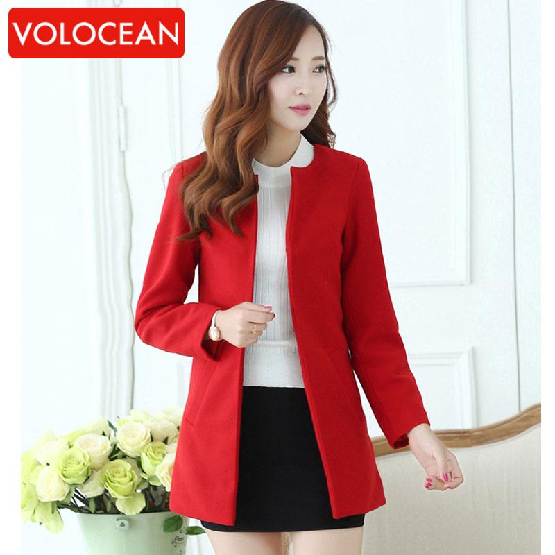 2ed7140dfa5 2016 Casual Winter Coat Candy Color Coats Female Autumn Parka Jackets For Women  Blazers Wool .