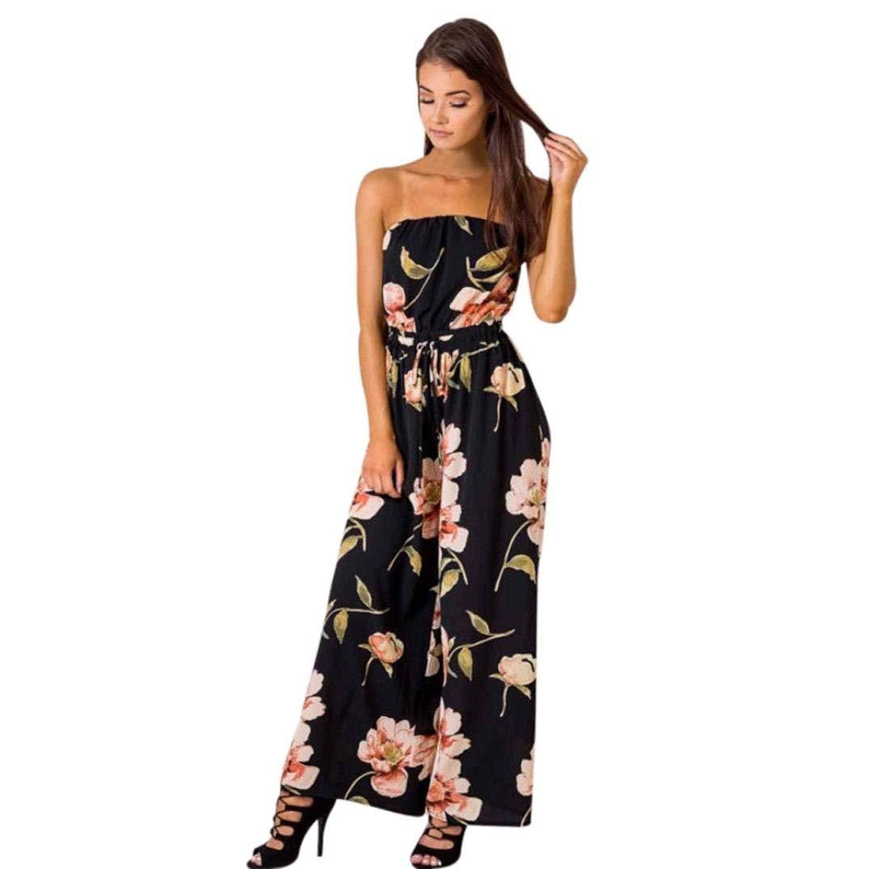 430a34cb4e US Women Off Shoulder Floral Playsuit Ladies Summer Loose Romper Long