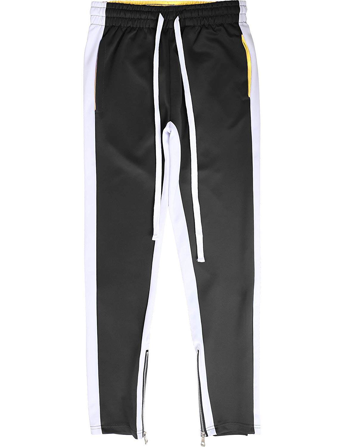 Ma Croix Mens Stripe Track Three Tone Pants and Jackets Skinny Fit Stretch Casual Athletic Joggers