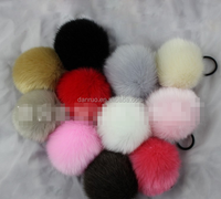 Mini Size Light Colorful Faux Fur Ball Fur Pom Fluffy Keyring For Sale
